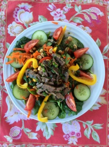 Thai beef salad - leftovers from the tenderloin!